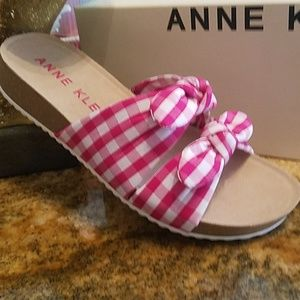 ANNE KLEIN | Double Bow Gingham Sandals NIB
